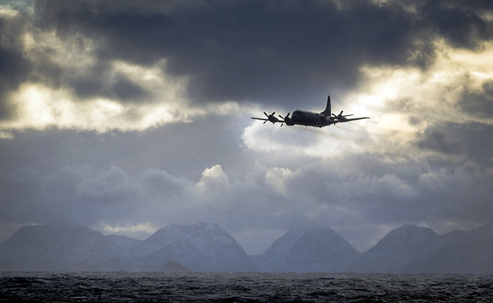 A CP-140 Aurora aircraft flies near Andoya, Norway during Neptune Trident 2017 on October 30, 2017. Photo: Leading Seaman Dan Bard, Formation Imaging Services HS06-2017-0956-695