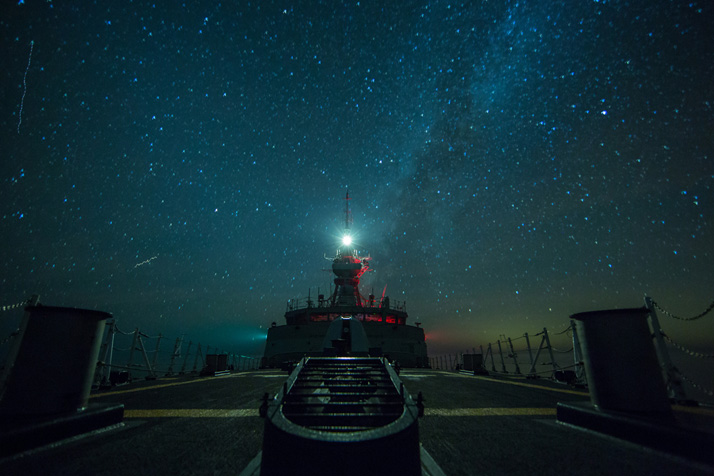 HMCS St. John's nighttime view of the bridge from the foc'sle. Nov. 18, 2016, Atlantic Ocean. Photo Jacek Szymanski RCN Broadcast Unit.