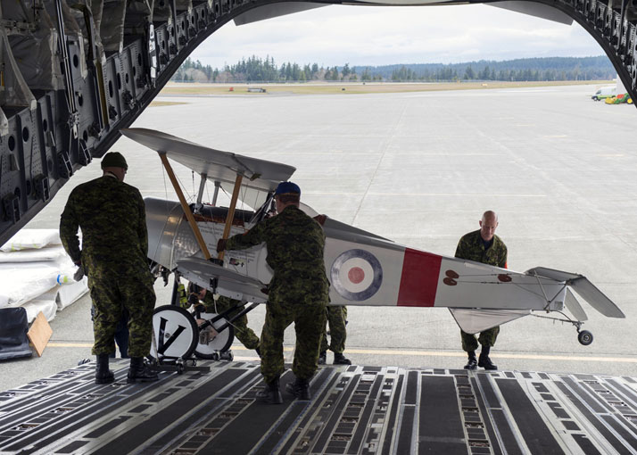 The Vimy Flight aircraft are loaded onto a CC-177 Globemaster aircraft at 19 Wing Comox on March 15, 2017 to be transported to Vimy, France to participate in the 100th anniversary of the Battle of Vimy Ridge. Photo: Cpl Spence NL, 19 Wing Imaging CX01-2017-0100-005