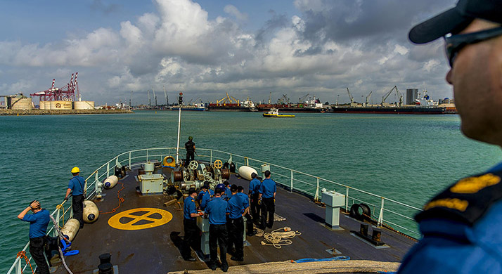 Her Majesty's Canadian Ship SUMMERSIDE arrives at the port city of Cotonou, Benin during Operation PROJECTION, March 18, 2018. Photo: Able Seaman (AS) John Iglesias. Formation Imaging Services HS17-2018-0150-0936