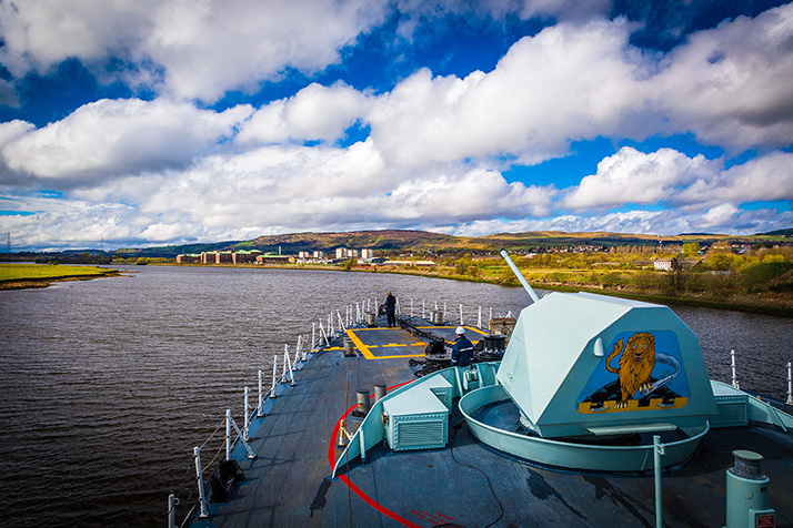 Her Majesty's Canadian Ship (HMCS) St. John's, currently deployed on Operation REASSURANCE begins its transit from Glasgow, Scotland after a port visit on April 22, 2018. Photo: Corporal Tony Chand, Formation Imaging Services RP17-2018-0028-06016