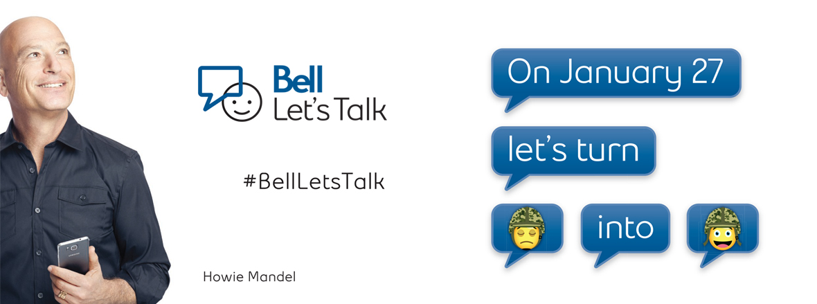 Bell Let's Talk Ad with Howie Mandel: [On January 27 let's turn :( into :D]