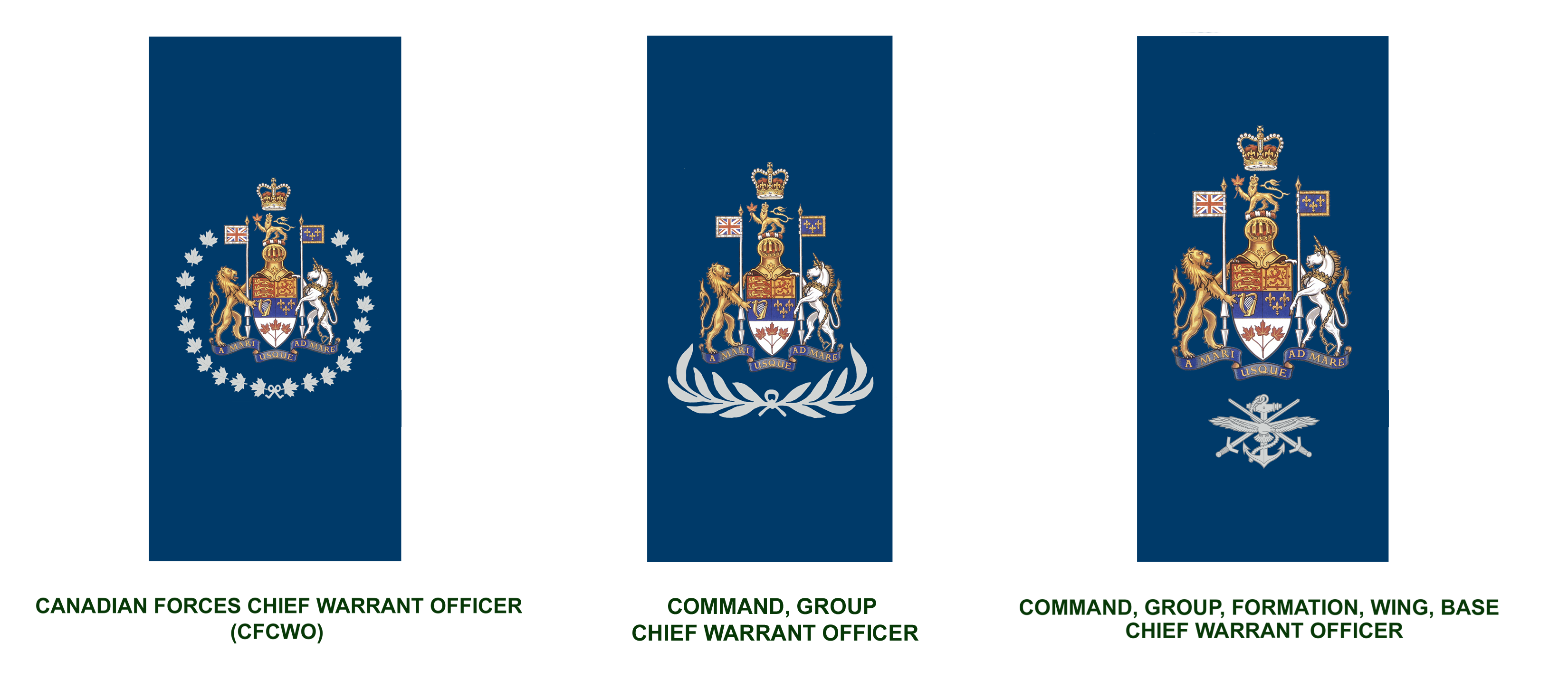 Senior Appointments (in descending order): Canadian Forces Chief Warrant Officer, Command, Group Chief Warrant Officer, and Command, Group, Formation, Wing, Base Chief Warrant Officer