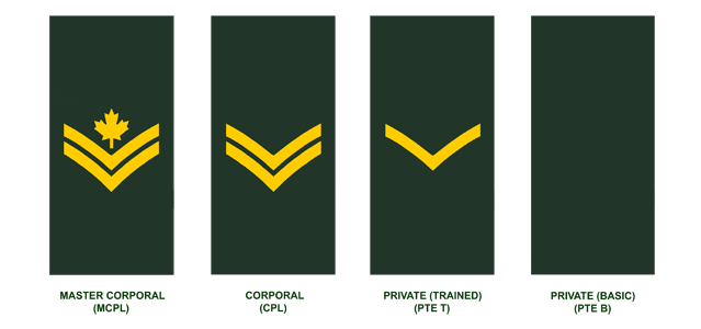 Non-Commissioned Members (in descending order): Master Corporal, Corporal, Private and Private Recruit