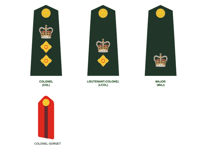 Senior Officers (in descending order): Colonel, Lieutenant-Colonel, and Major