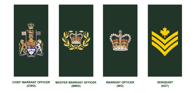Warrant Officers and Senior Non-Commissioned Officers (in descending order): Chief Warrant Officer, Master Warrant Officer, Warrant Officer, Sergeant