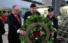 Washington DC, United States. 22 May 2014 – The Honourable Rob Nicholson, Minister of National Defence, Master Warrant Officer Dave Hitt and Lieutenant-General Stuart Beare, Commander of Canadian Joint Operations Command, lay a wreath during the Afghanistan Memorial Vigil ceremony at the Canadian Embassy in Washington DC, United States on May 22, 2014. (Photo: Sgt Norm McLean, Canadian Forces Combat Camera)
