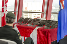 Calgary, Alberta. 25 August 2014 – General Eyre addresses the crowd at the opening ceremony for the Calgary exhibit of the Afghanistan Memorial Vigil at the Calgary Tower. Photo by Sgt Brangwyn Jones, 41 Canadian Brigade Group