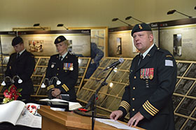 Regina, Saskatchewan.  2 September 2014 – Commander of 38 CBG Colonel Ross Ermel imparts a message from the brigade during the opening of the Afghanistan vigil at the Saskatchewan legislature. (Photo by MCpl Cameron Skrypnyk. Copyright 2014 DND/MDN)