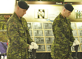 CFB Shilo, Manitoba. 8 September 2014 – Two of the four vigil guards stand stoically during a rehearsal for the opening ceremony of 9 September 2014 when CFB Shilo hosted the Afghanistan Memorial Vigil (AMV) for five days. (Photo by Jules Xavier, Shilo Stag)