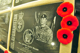 CFB Shilo, Manitoba. 11 September 2014 - 2PPCLI's MCpl Jeffrey Walsh's memorial plaque in the Afghanistan Memorial Vigil (AMV) had poppies placed on it by former Patricia's who served in Canada's military engagement in Afghanistan with the 33-year-old Saskatoon native. (Photo by Jules Xavier, Shilo Stag)