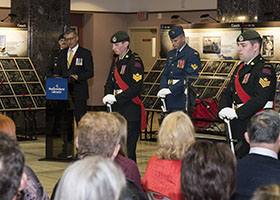 St. John's, Newfoundland and Labrador. 24 October 2014 – Premier of Newfoundland and Labrador, The Honourable Paul Davis, speaks at The Afghanistan Memorial Vigil while it visits St. John's, Newfoundland and Labrador, to remember and honour those who have fallen in Afghanistan. (Photo: Leading Seaman Ronnie Kinnie, Formation Imaging Services)