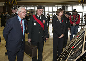 St. John's, Newfoundland and Labrador. 24 October 2014 – Lieutenant Governor of Newfoundland and Labrador, His Honour the Honourable Frank F. Fagan looks at The Afghanistan Memorial Vigil while it visits St. John's, Newfoundland and Labrador, to remember and honour those who have fallen in Afghanistan. (Photo: Leading Seaman Ronnie Kinnie, Formation Imaging Services)
