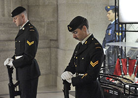 Winnipeg, Manitoba. 16 September 2014 –Cpl Jason Hertz of the 116 Independent Field Battery from Kenora Ontario conducts the drill movement, rest on your arms reverse during the Afghanistan Memorial Vigil held at the Manitoba Legislative Building. (Photo AS2014-0062-001 by Sgt Bern LeBlanc Canadian Army Public Affairs, 3rd Can Div HQ)