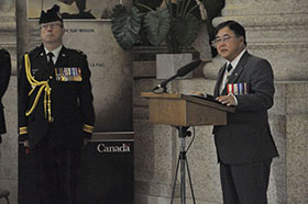 Winnipeg, Manitoba. 16 September 2014 –The Honourable Philip S. Lee the Lieutenant Governor of Manitoba speaks to invited guest during the Afghanistan Memorial Vigil held at the Manitoba Legislative Building. (Photo AS2014-0062-002 by Sgt Bern LeBlanc Canadian Army Public Affairs, 3rd Can Div HQ)