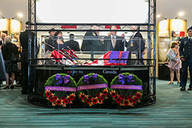 Vancouver, British Columbia. 29 July 2014 - The centre piece of the Afghanistan Memorial Vigil with wreaths placed on behalf of the Canadian Armed Forces, the Government of British Columbia, and families of the fallen. (Photo by Bdr Albert Law, 39 CBG Public Affairs)