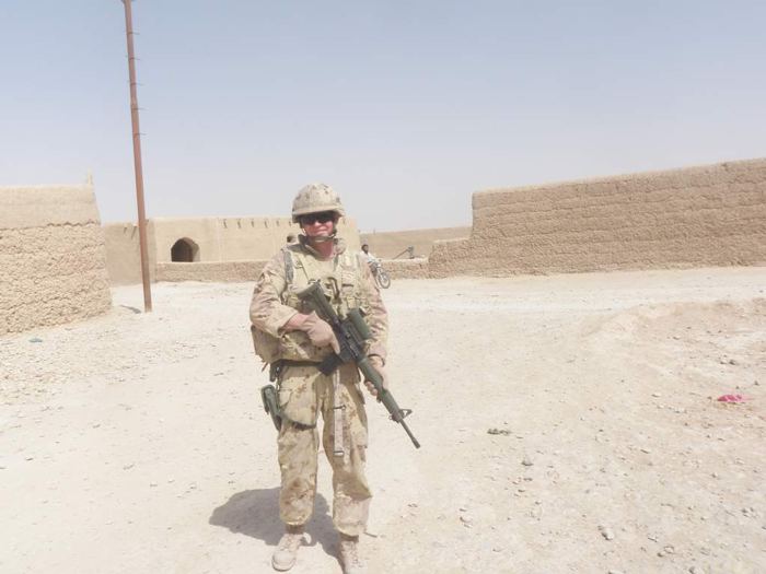 Lieutenant Colonel Cliff  Jamieson on patrol in Helmand Province, Afghanistan, June 2011. Photo- LCol CLIFF JAMIESON