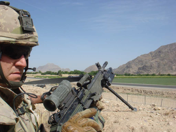 Corporal Paul McLean, a Reservist with The Grey and Simcoe Foresters, on duty in Kandahar Province, Afghanistan. - Photo courtesy Cpl. PAUL MCLEAN