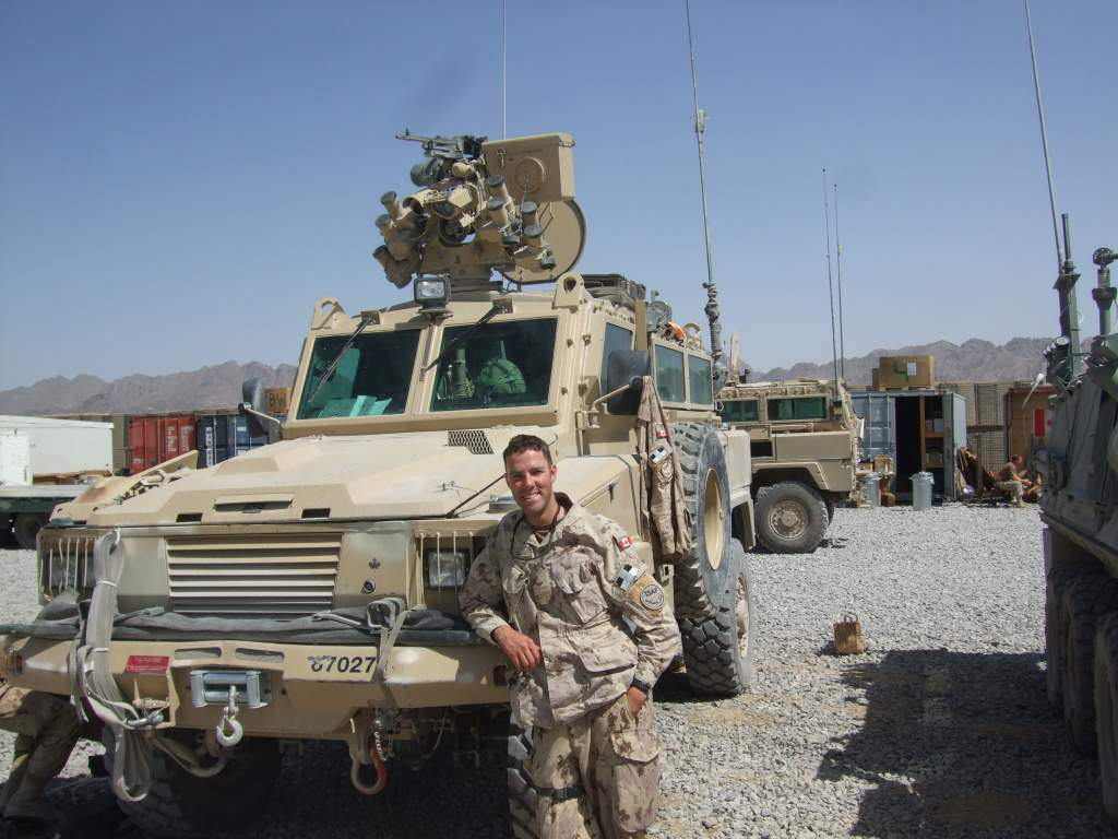 Captain Drew Beauchamp stopped at 'FOB Frontenac' while on a convoy escort mission in Kandahar Province, 2008. – Photo courtesy Capt DREW BEAUCHAMP