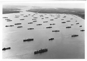 Convoy assembled in the Bedford Basin, Halifax N.S., April 1942.