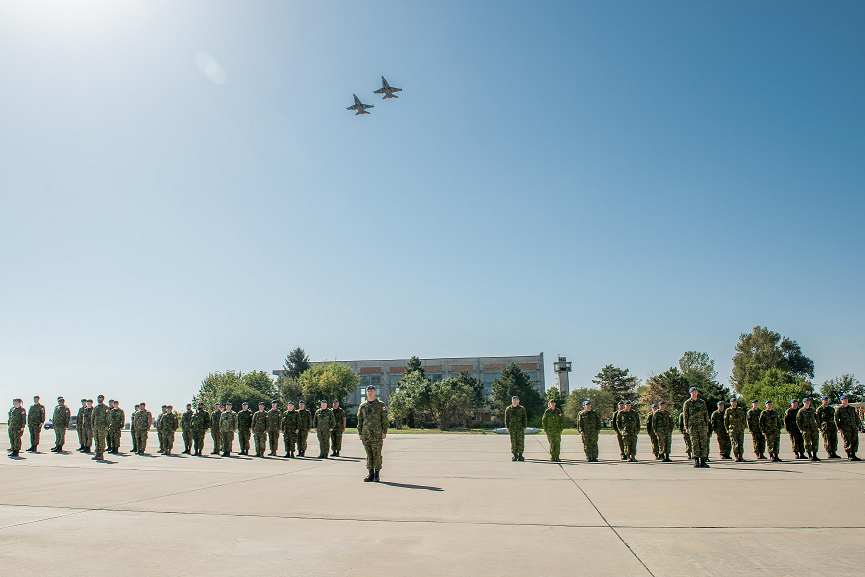 September 17, 2017. Air Task Force Romania personnel currently deployed on Operation REASSURANCE in support of NATO enhanced Air Policing, stand on parade during the Battle of Britain ceremony at Mihail Kogalniceanu Air Base, Constanta, Romania, September 17, 2017. Photo: Sergeant Daren Kraus