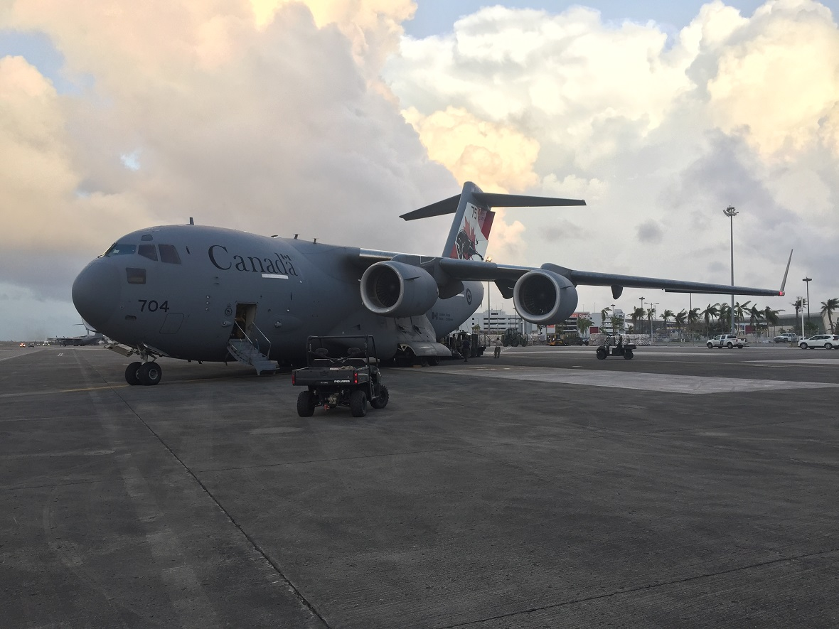 San Juan, Puerto Rico. September 29, 2017 - A Royal Canadian Air Force CC-177 Globemaster unloads cargo in Puerto Rico. The CC-177 is providing airlift support to American relief efforts in Puerto Rico and the US Virgin Islands as part of Operation RENAISSANCE. (Photo by Captain Steven Alexander, 429 Transport Squadron)