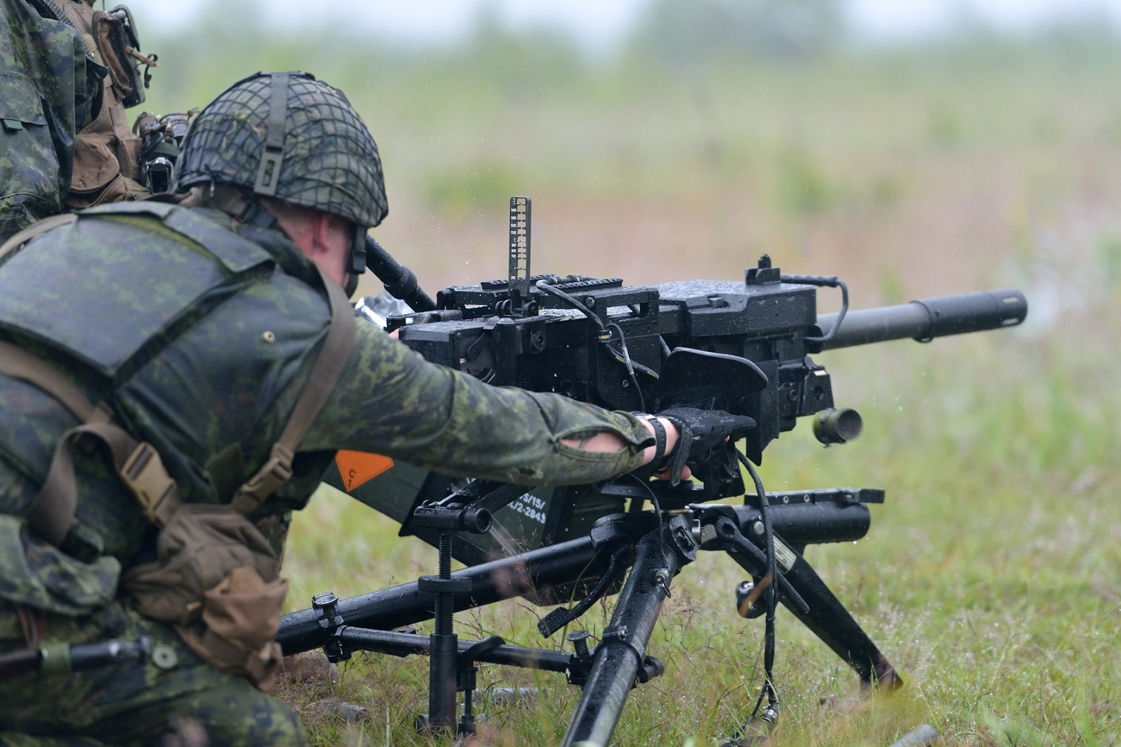 "Members of Princess Patricia's Canadian Light Infantry First Battalion Bravo Company, deployed on Operation REASSURANCE as part of the enhanced Forward Battlegroup Latvia, fire a C16 in the training ranges of Camp Ādaži, Latvia on June 30, 2017. This exercise is to ""zero"" the weapon, a process to adjust the sights ensuring maximum accuracy."