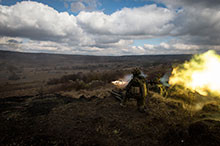 Operation REASSURANCE. November 1, 2016. A member of 3 Platoon, Alpha Company, 1 Princess Patricia's Canadian Light Infantry (1 PPCLI) fires a Carl Gustaf recoilless rifle at Land Forces Combat Training Centre Getica in Romania during Exercise SCORPION FURY. (Photo: Cpl Jay Ekin, Operation REASSURANCE Land Task Force Imagery Technician)