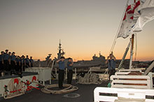 Mediterranean Sea. October 29, 2016. Her Majesty's Canadian Ship (HMCS) CHARLOTTETOWN's ship's company performs Colours in Toulon, France during Operation REASSURANCE. (Photo: Cpl Blaine Sewell, Formation Imaging Services)