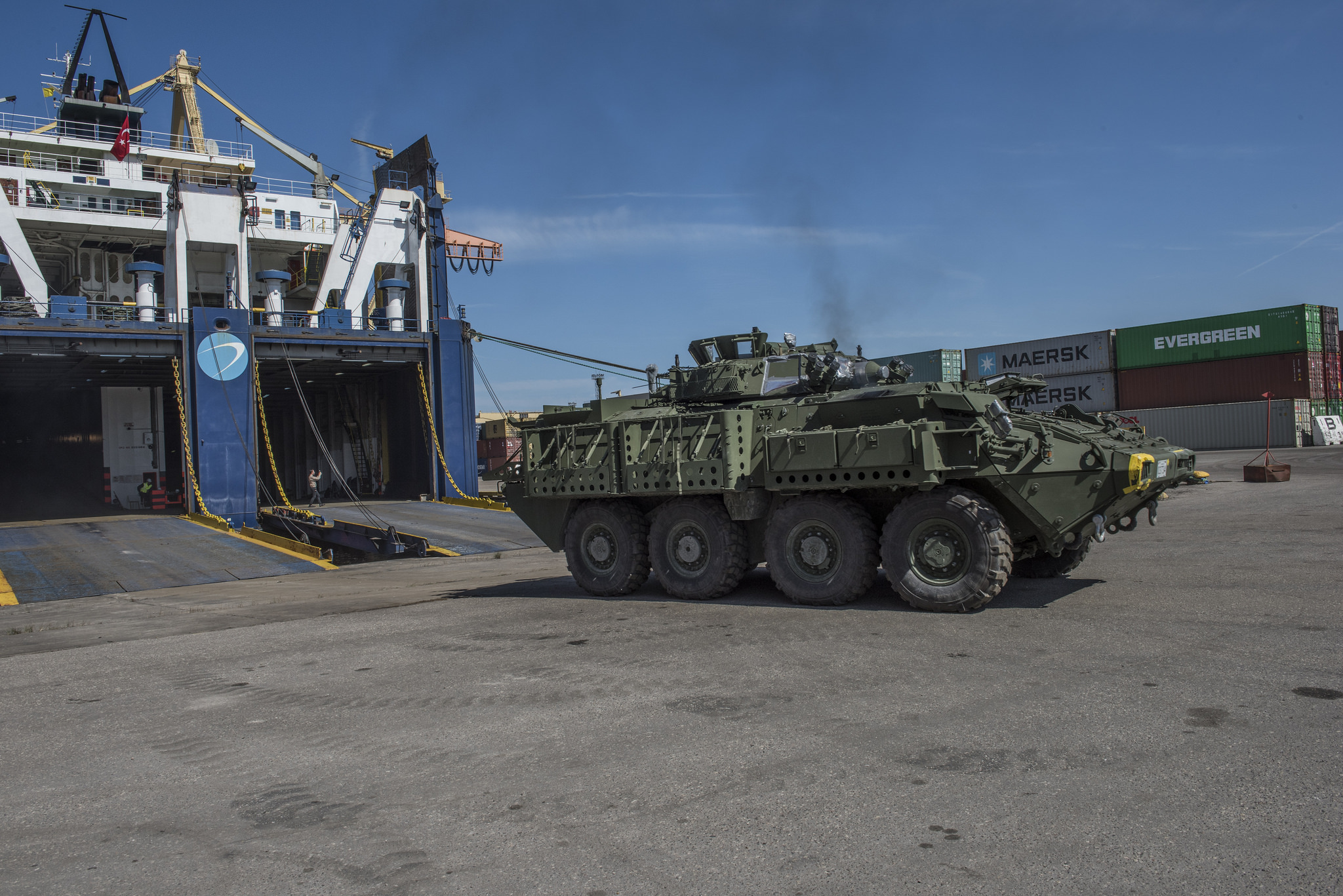 May 6 2017. Canadian military vehicles and equipment are offloaded from a cargo ship on May 6 in Riga Port, Latvia, in preparation for the arrival of the multinational battlegroup as part of NATO's enhanced Forward Presence in Latvia.   Equipment, including mobile heavy equipment, arrived in Riga Port in Latvia today to be used during the construction of camp infrastructure such as accommodation and vehicle maintenance bays at Camp Adazi where NATO's enhanced Forward Presence battlegroup in Latvia will be based.   Photo: Corporal Colin Thompson, Joint Task Force-Europe Imagery Technician