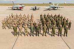 Group photo of Royal Canadian Air Force – Air Task Force Romania, Royal Air Force 135 EAW Squadron and Romanian Air Force, Mihail Kogalniceanu Air Base, Constanta, Romania during NATO enhanced Air Policing on August 23, 2017. Photo: Sgt Daren Kraus