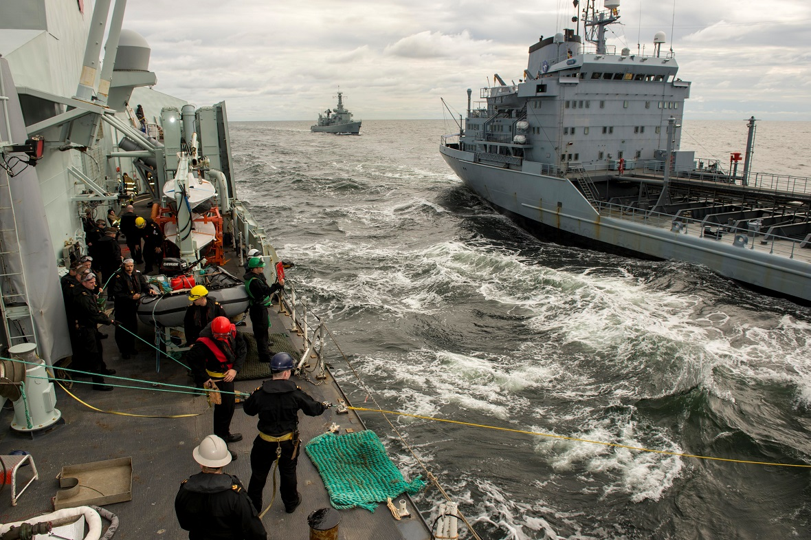 Her Majesty's Canadian Ship Charlottetown conducts a Replenishment at Sea with Federal German Ship Rhön during Operation REASSURANCE, September 1, 2017. Photo: Corporal J.W.S. Houck, Formation Imaging Services