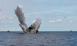 An M-06 naval mine is detonated off the coast of Mērsrags, Latvia, on August 28, 2017 as part of Operation OPEN SPIRIT 2017, an annual multinational operation dedicated to the clearance and disposal of explosive remnants from WWI & WWII. Photo: Cpl Jordan Lobb, Canadian Forces Combat Camera