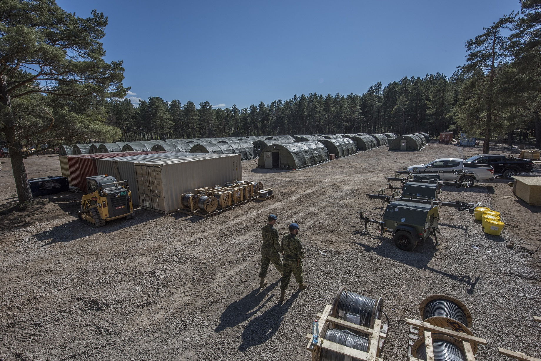 May 13, 2017. Canadian troops from the Theatre Opening Team prepare infrastructure at Camp Adazi, Latvia, on May 13, 2017, in advance of the arrival of NATO's enhanced Forward Presence multinational battlegroup in Latvia.