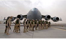 Kandahar, Afghanistan. 17 February 2009- Canadian Forces personnel, completing their tour of duty, commence boarding onto the CC-177 Globemaster III strategic transport aircraft at Kandahar Airfield, Afghanistan, 19 February 2009. (Photo : MCpl Robert Bottrill, CF Combat Camera)