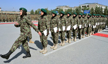 Kabul, Afghanistan. 29 August 2013- Members from the Afghan National Army female training brigade prepare to march off the Kabul Military Training Center parade square after receiving their graduation certificates on August 29, 2013 in Kabul, Afghanistan during Operation ATTENTION. (Photo: MCpl Frieda Van Putten, Canadian Armed Forces)