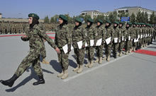 Kabul, Afghanistan. 29 August 2013 – Members from the Afghan National Army female training brigade prepare to march off the Kabul Military Training Center parade square after receiving their graduation certificates on August 29, 2013 in Kabul, Afghanistan during Operation ATTENTION. (Photo: MCpl Frieda Van Putten, Canadian Armed Forces)