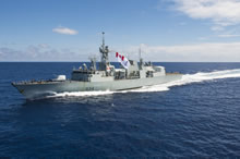 East Coast of Africa, 26 February 2014 – Her Majesty's Canadian Ship Regina flies her battle ensign sized Canadian Naval Ensign during Operation ARTEMIS. (photo by: Cpl Michael Bastien, MARPAC Imaging Services)