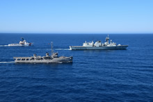 International waters. 4 October 2014 - HMCS Calgary, along with its consorts USCGC Active and Mexican ship Arias conducting Joint Interagency Operations off the coast of Mexico. (Photo credit: SLt Ellie Aminaie)