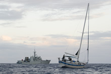 Off the coast of Nicaragua. 7 March 2016 – Her Majesty's Canadian Ship (HMCS) Summerside assists with the seizure of more than 300 kilograms of cocaine on March 7, 2016, while patroling off the coast of Nicaragua while participating in Operation CARIBBE, Canada's contribution to the multinational campaign against transnational criminal organizations in the Pacific Ocean and the Caribbean. (Photo: Public Affairs, HMCS Summerside)