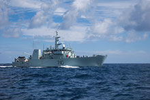 November 15, 2016. HMCS BRANDON patrols an area of known illicit drug smuggling during Operation CARIBBE along the coast of North and Central America. (Photo: Royal Canadian Navy Public Affairs)