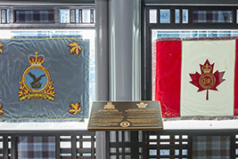 The retired and laid-up Air Command Colour (left) and Queen's Colour at the Air Canada Centre.