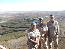 Golan Heights, 5 May 2012 – Canadian Armed Forces members deployed on Operation GLADIUS stand outside an observation post. (from left to right: Maj Islam Elkorazati, Maj Chris Catry and LCdr Peter Rohe) (photo by: SSG Gernot Payer)