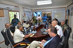 9 August 2015. Haiti. The MINUSTAH UNPOL, Military Component Commanders and The Director General of the Haitian National Police (PNH), Godson Orélus, discuss security plans. (Photo: UN of the National Command and Control center).