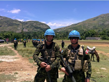 Haiti. June 2016 – Colonel Nicolas Pilon and Major Carl MacKinlay conduct a patrol in support of the UN Stabilization Mission in Haiti (MINUSTAH) during Operation HAMLET. (Photo by DND/CAF).