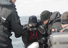 Estonia. 20 May 2015 – Royal Canadian Navy Clearance Divers are participating in Operation OPEN SPIRIT, a multi-national underwater mine clearing operation to rid the waters near Estonia of mines laid during World War I and World War II. (Photo by: Cpl Chris Ringius, Formation Imaging Services Halifax)