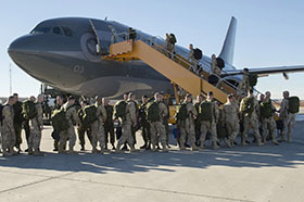 22 October 2014, Cold Lake, Alberta – Canadian Armed Forces members from 4 Wing Cold Lake depart for their deployment in support of Operation IMPACT. (Photo CK2014-1109-D008 by Cpl Audrey Solomon, 4 Wing Imaging, Cold Lake, Alberta)