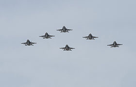 21 October 2014, Cold Lake, Alberta – CF-188 Hornet aircraft conduct a fly past at 4 Wing Cold Lake prior to deploying to Operation IMPACT. (Photo CK2014-1118-D012 by Cpl Audrey Solomon, 4 Wing Imaging, Cold Lake, Alberta)