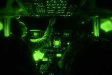28 August 2014 – Pilots of a CC-177 Globemaster III aircraft containing military equipment destined for Iraq, fly using tactical lighting during Operation IMPACT. (Photo IS2014-3036-07 by MCpl Marc-André Gaudreault, Canadian Forces Combat Camera)