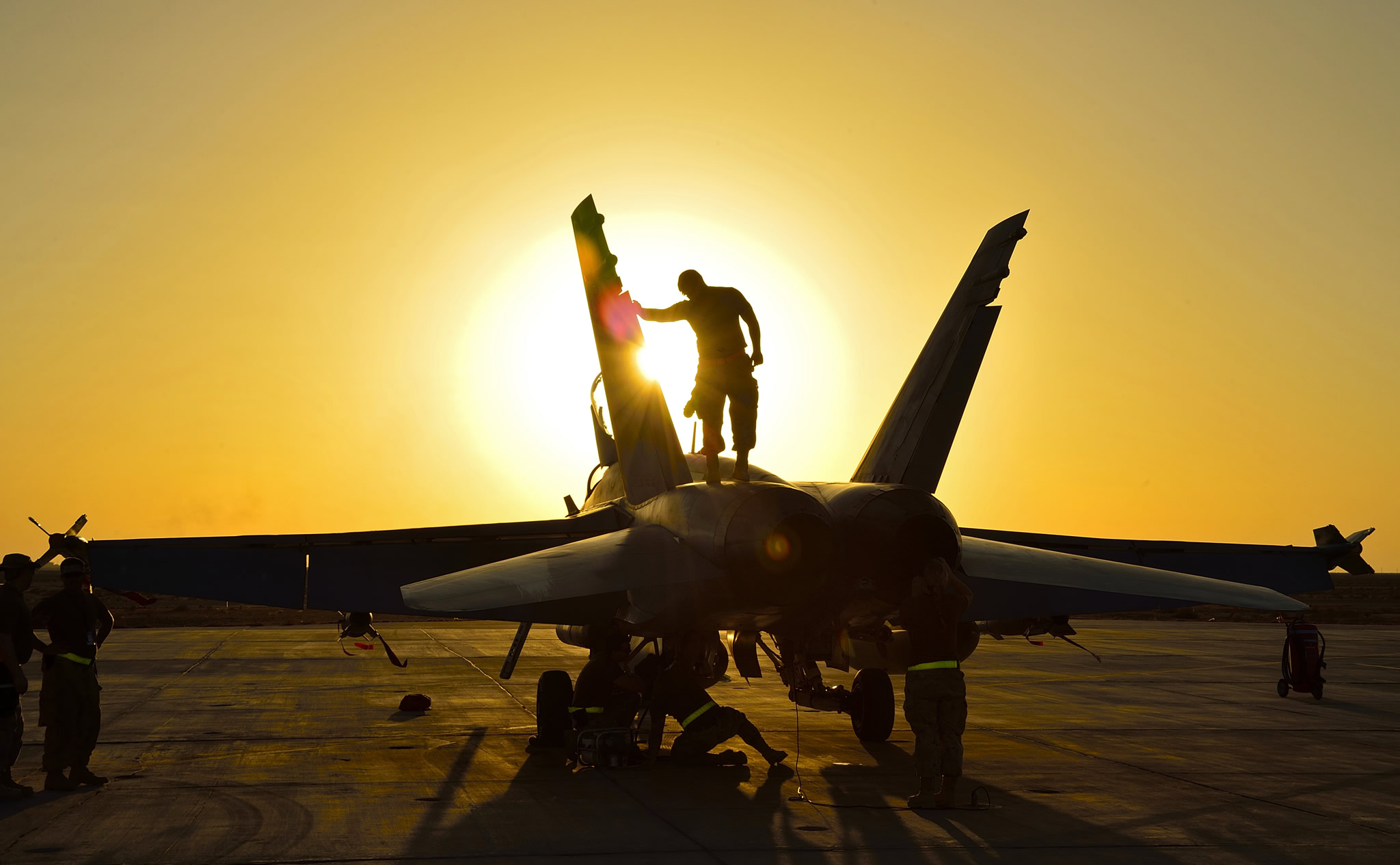 Kuwait Royal Canadian Air Force Ground Crew Perform Post Flight Checks